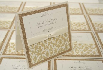 Gold Glitter Wallet with Damask Pattern
