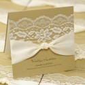 Brown Card, Lace with Knot Invitation