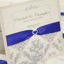 Royal Blue Damask Wallet Invitation