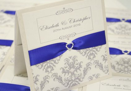 Royal Blue Damask Wallet Invitation