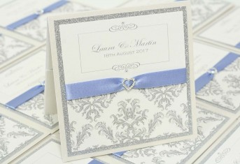 Silver Glitter Damask Pocket Invitation