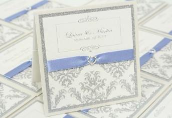 Silver Glitter Damask Pocket Invitation