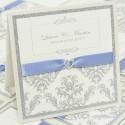Silver Glitter Damask on Ivory Pocket