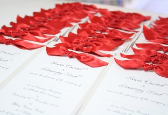 Red Knot Ribbon Invitations