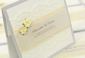 Lemon rose, vintage lace, silver pocket invite