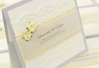 Lemon rose, vintage lace, silver pocket invite