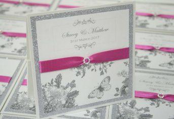 fuchsia Pink, Butterfly glitter pocket invite