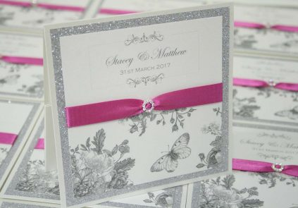 fuchsia Pink, Butterfly glitter pocket invite