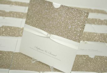 gold glitter, ivory ribbon wallet invite