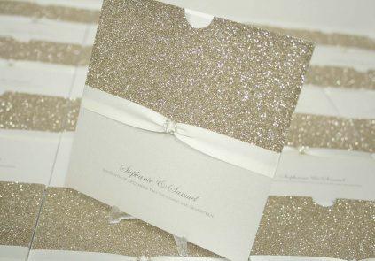 gold glitter, ivory ribbon wallet invite