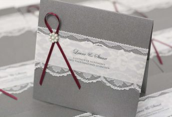 grey and burgundy pocket invite