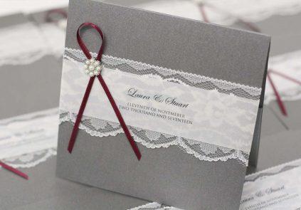 grey and burgundy pocket invite