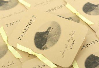 passport invite, lemon ribbon
