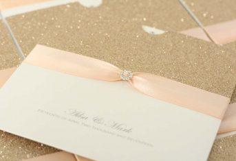 rose gold, peach ribbon wallet invite