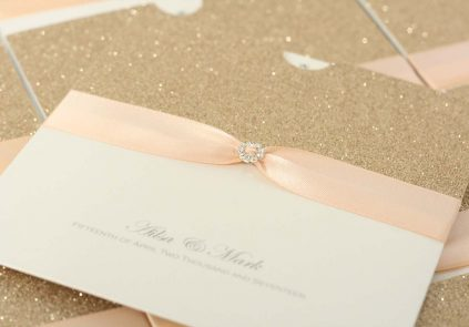 rose gold, peach ribbon wallet invite