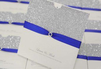 royal blue, silver glitter wallet invite