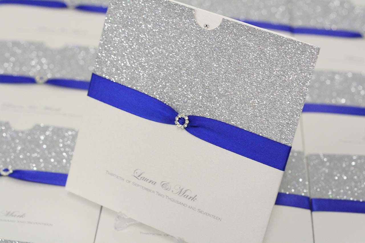 Wedding Invitations Royal Blue And Silver: Royal Blue, Silver Glitter Wallet Invite