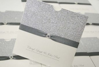 silver glitter, grey ribbon wallet invite