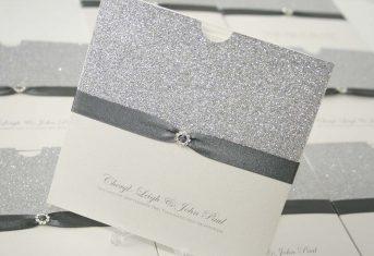 silver glitter, grey ribbon wallet invite