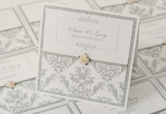 silver glitter, pink edge rose, damask printed pocket invite