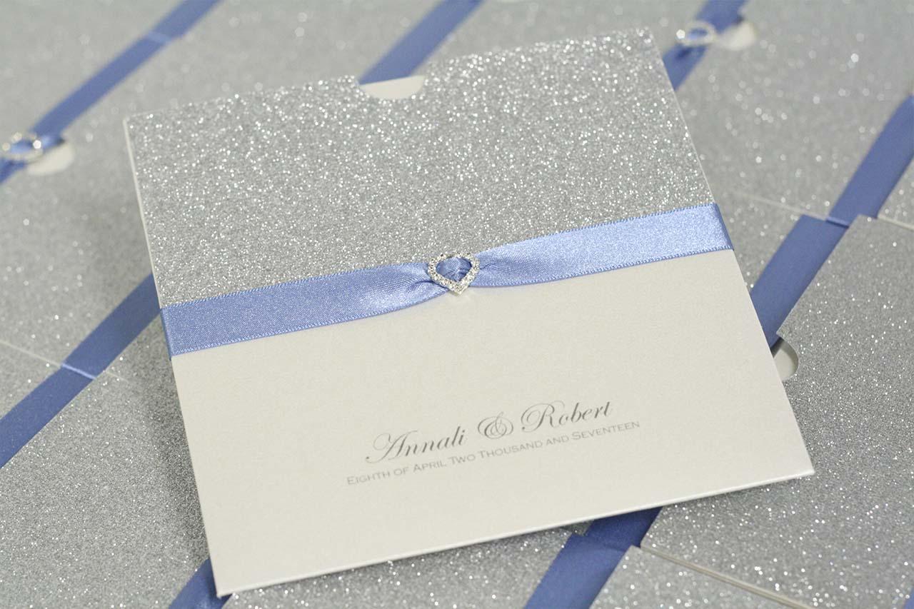 silver glitter, sky blue ribbon and diamante heart wallet invite ...