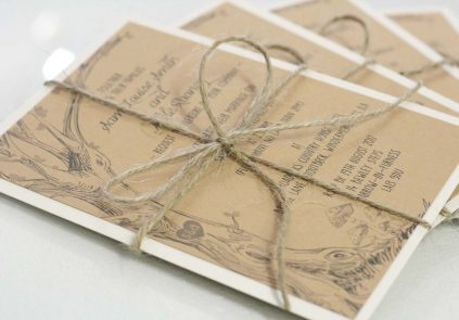 woodland theme, brown kraft letter stack invite